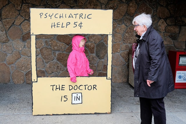 A real life Lucy's psychiatry booth